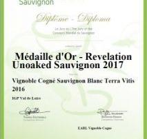 Medaille d'or Vignoble Cogné
